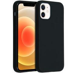 Accezz Liquid Silicone Backcover iPhone 12 Mini - Zwart