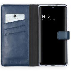 Selencia Echt Lederen Booktype Samsung Galaxy A42 - Blauw