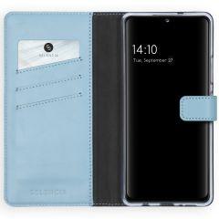 Selencia Echt Lederen Booktype Samsung Galaxy A42 - Lichtblauw