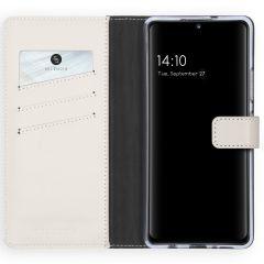 Selencia Echt Lederen Booktype Samsung Galaxy A42 - Lichtgrijs