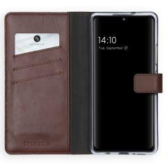 Selencia Echt Lederen Booktype Samsung Galaxy A42 - Bruin
