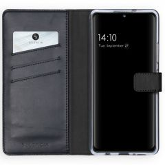 Selencia Echt Lederen Booktype Samsung Galaxy A42 - Zwart