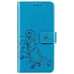Klavertje Bloemen Booktype Samsung Galaxy A21s - Turquoise