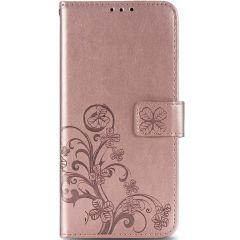 Klavertje Bloemen Booktype Samsung Galaxy A21s - Rosé Goud