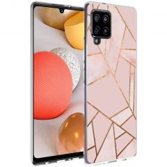 iMoshion Design hoesje Galaxy A42 - Grafisch Koper - Roze / Goud