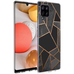 iMoshion Design hoesje Galaxy A42 - Grafisch Koper - Zwart / Goud
