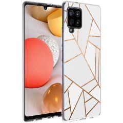 iMoshion Design hoesje Galaxy A42 - Grafisch Koper - Wit / Goud