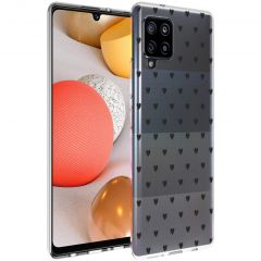 iMoshion Design hoesje Samsung Galaxy A42 - Hartjes - Zwart