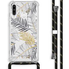 iMoshion Design hoesje met koord Huawei P30 Lite - Bladeren - Zwart
