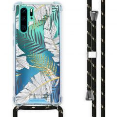 iMoshion Design hoesje met koord Huawei P30 Pro - Bladeren - Zwart