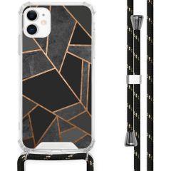 iMoshion Design hoesje met koord iPhone 11 - Grafisch Koper - Zwart