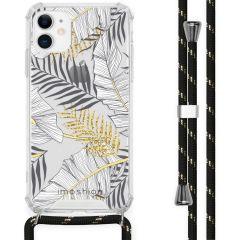 iMoshion Design hoesje met koord iPhone 11 - Bladeren - Zwart / Goud