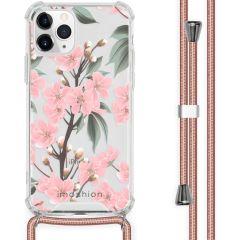 iMoshion Design hoesje met koord iPhone 11 Pro - Bloem - Roze / Groen