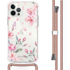 iMoshion Design hoesje met koord iPhone 12 (Pro) - Bloem - Roze