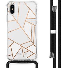 iMoshion Design hoesje met koord iPhone X / Xs - Grafisch Koper - Wit