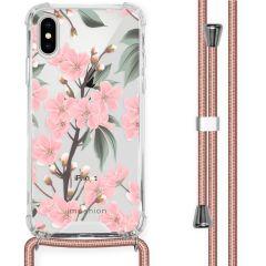 iMoshion Design hoesje met koord iPhone X / Xs - Bloem - Roze / Groen