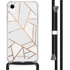 iMoshion Design hoesje met koord iPhone Xr - Grafisch Koper - Wit