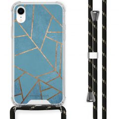 iMoshion Design hoesje met koord iPhone Xr - Grafisch Koper - Blauw