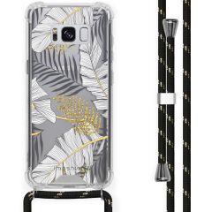 iMoshion Design hoesje met koord Samsung Galaxy S8 - Bladeren - Zwart