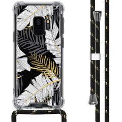 iMoshion Design hoesje met koord Samsung Galaxy S9 - Bladeren - Zwart