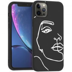 iMoshion Design hoesje iPhone 12 Pro Max - Abstract Gezicht - Wit