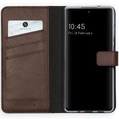 Selencia Echt Lederen Booktype Samsung Galaxy S20 FE - Bruin