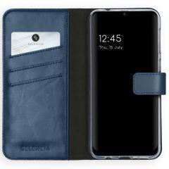 Selencia Echt Lederen Booktype Samsung Galaxy M31 - Blauw