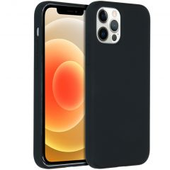 Accezz Liquid Silicone Backcover iPhone 12 (Pro) - Zwart
