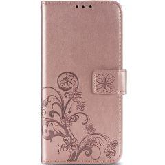 Klavertje Bloemen Booktype Samsung Galaxy S20 FE - Rosé Goud