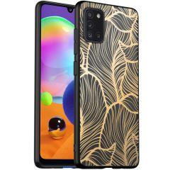 iMoshion Design hoesje Samsung Galaxy A31 - Bladeren - Goud / Zwart