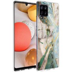 iMoshion Design hoesje Samsung Galaxy A42 - Marmer - Gebroken Beige
