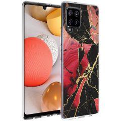iMoshion Design hoesje Samsung Galaxy A42 - Marmer - Gebroken Rood