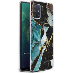 iMoshion Design hoesje Samsung Galaxy A71 - Marmer - Gebroken Blauw