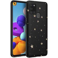iMoshion Design hoesje Samsung Galaxy A21s - Sterren - Zwart / Goud