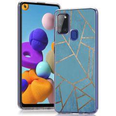 iMoshion Design hoesje Samsung Galaxy A21s - Grafisch Koper - Blauw