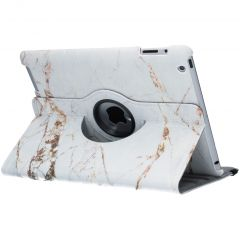 360° Draaibare Design Bookcase iPad 2 / 3 / 4 - Wit Marmer