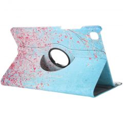 360° Draaibare Design Bookcase Galaxy Tab A7 - Roze Bloesem
