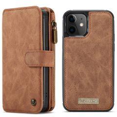 CaseMe Luxe 2 in 1 Portemonnee Booktype iPhone 12 Mini - Bruin