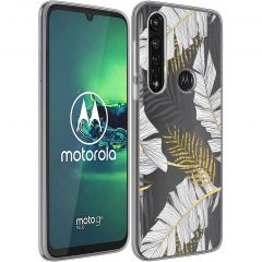 iMoshion Design hoesje Moto G8 Power - Bladeren - Zwart / Goud