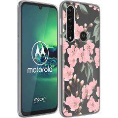 iMoshion Design hoesje Motorola Moto G8 Power - Bloem - Roze / Groen