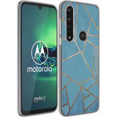iMoshion Design hoesje Moto G8 Power - Grafisch Koper - Blauw / Goud