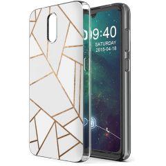 iMoshion Design hoesje Nokia 2.3 - Grafisch Koper - Wit / Goud