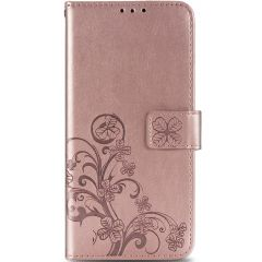 Klavertje Bloemen Booktype Sony Xperia 10 II - Rosé Goud