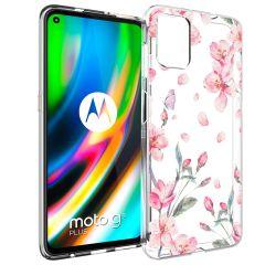 iMoshion Design hoesje Motorola Moto G9 Plus - Bloem - Roze