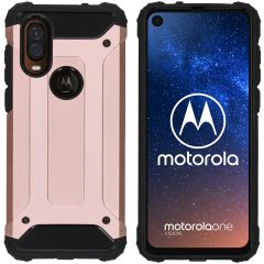 iMoshion Rugged Xtreme Backcover Motorola One Vision - Rosé Goud