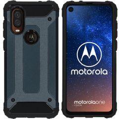 iMoshion Rugged Xtreme Backcover Motorola One Vision - Donkerblauw