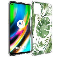 iMoshion Design hoesje Motorola Moto G9 Plus - Bladeren - Groen