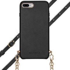 Selencia Aina Slang Hoesje met koord iPhone 8 Plus / 7 Plus - Zwart
