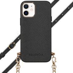 Selencia Aina Slang Hoesje met koord iPhone 12 Mini - Zwart