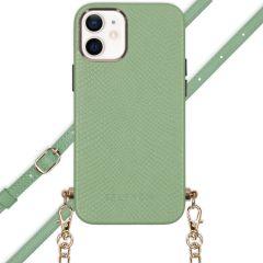 Selencia Aina Slang Hoesje met koord iPhone 12 Mini - Groen